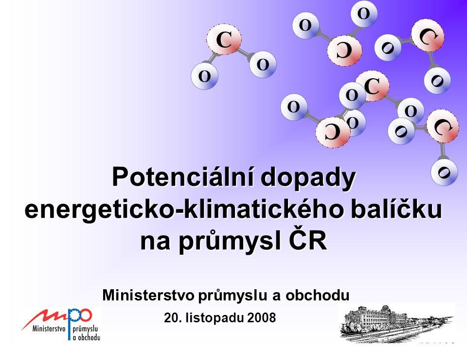 Potenciální dopady energeticko-klimatického balíčku na průmysl ČR Ministerstvo průmyslu a obchodu C O O C O O C O O C O O C O O C O O 20.