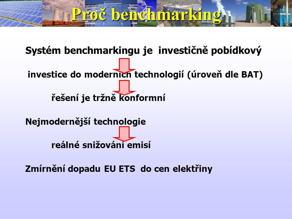 Proč benchmarking Systém benchmarkingu je investičně pobídkový investice do moderních technologií (úroveň dle BAT) řešení je tržně konformní Nejmodernější technologie reálné snižování emisí Zmírnění dopadu EU ETS do cen elektřiny