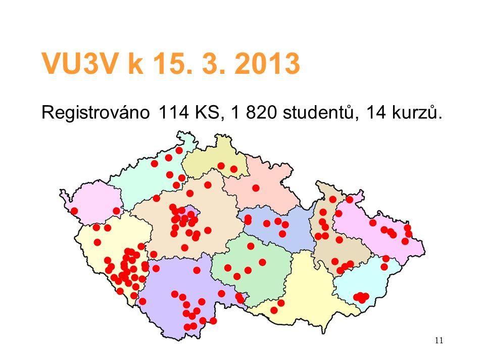 VU3V k 15. 3. 2013 Registrováno 114 KS, 1 820 studentů, 14 kurzů. 11