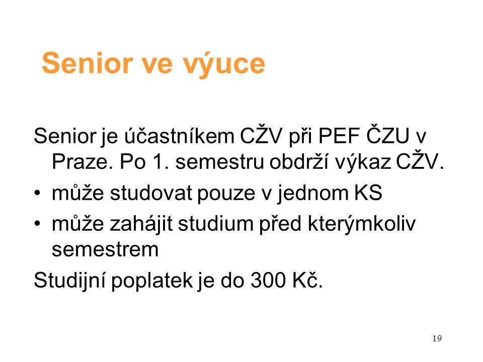 Senior ve výuce Senior je účastníkem CŽV při PEF ČZU v Praze.