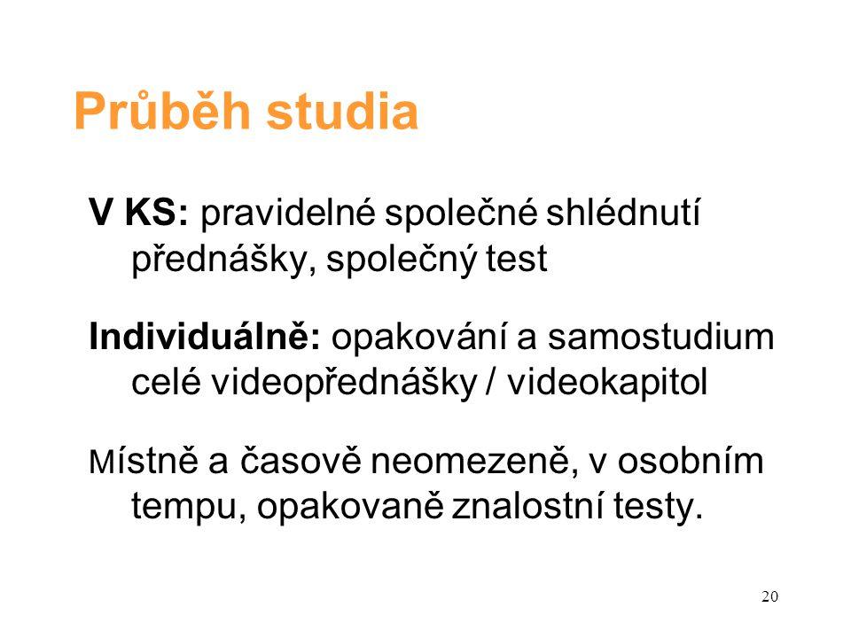 Průběh studia V KS: pravidelné společné shlédnutí přednášky, společný test Individuálně: opakování a samostudium celé videopřednášky / videokapitol M ístně a časově neomezeně, v osobním tempu, opakovaně znalostní testy.