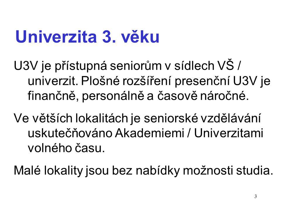 3 Univerzita 3. věku U3V je přístupná seniorům v sídlech VŠ / univerzit.