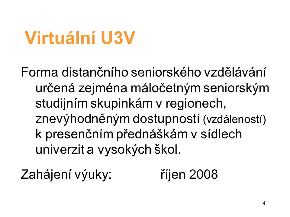Virtuální U3V Forma distančního seniorského vzdělávání určená zejména máločetným seniorským studijním skupinkám v regionech, znevýhodněným dostupností (vzdáleností) k presenčním přednáškám v sídlech univerzit a vysokých škol.