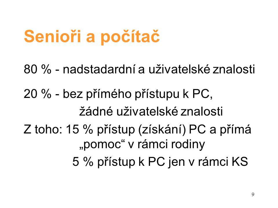 """Senioři a počítač 80 % - nadstadardní a uživatelské znalosti 20 % - bez přímého přístupu k PC, žádné uživatelské znalosti Z toho: 15 % přístup (získání) PC a přímá """"pomoc v rámci rodiny 5 % přístup k PC jen v rámci KS 9"""