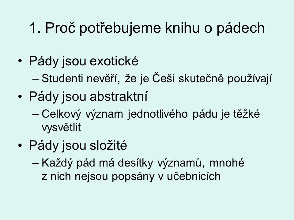 1. Proč potřebujeme knihu o pádech •Pády jsou exotické –Studenti nevěří, že je Češi skutečně používají •Pády jsou abstraktní –Celkový význam jednotliv