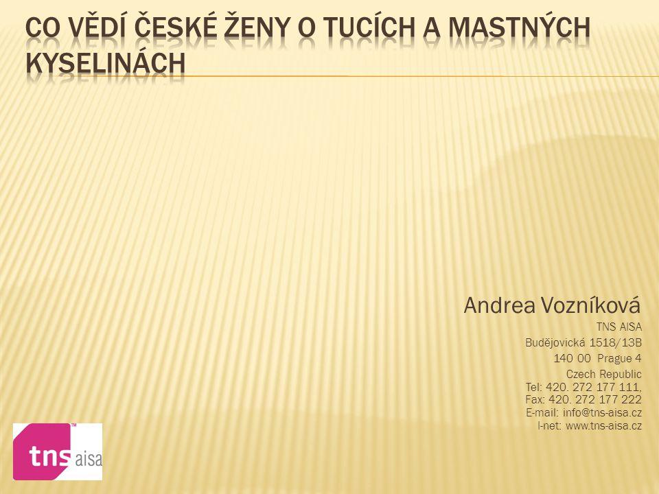Andrea Vozníková TNS AISA Budějovická 1518/13B 140 00 Prague 4 Czech Republic Tel: 420. 272 177 111, Fax: 420. 272 177 222 E-mail: info@tns-aisa.cz I-