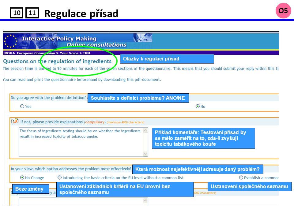 Regulace přísad 10 O5 11 Otázky k regulaci přísad Souhlasíte s definicí problému.