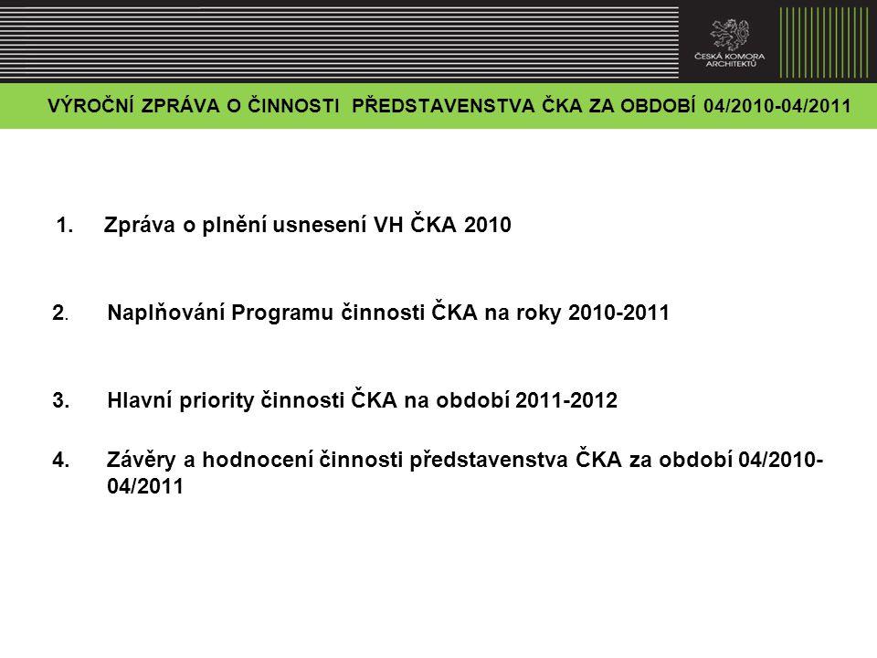 1.ZPRÁVA O PLNĚNÍ USNESENÍ VH ČKA 2010 1.1. Aktivní účast na novele zákona č.