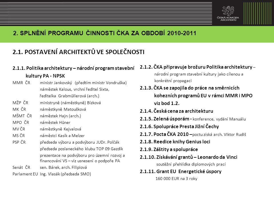 2.NAPLŇOVÁNÍ PROGRAMU ČINNOSTI ČKA ZA OBDOBÍ 2010-2011 2.3.