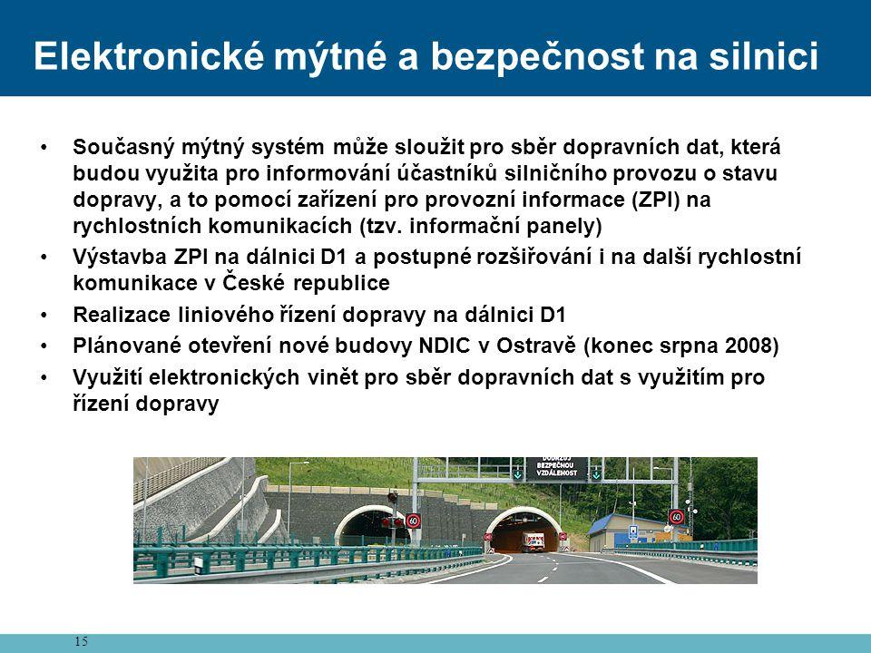 15 Elektronické mýtné a bezpečnost na silnici •Současný mýtný systém může sloužit pro sběr dopravních dat, která budou využita pro informování účastníků silničního provozu o stavu dopravy, a to pomocí zařízení pro provozní informace (ZPI) na rychlostních komunikacích (tzv.