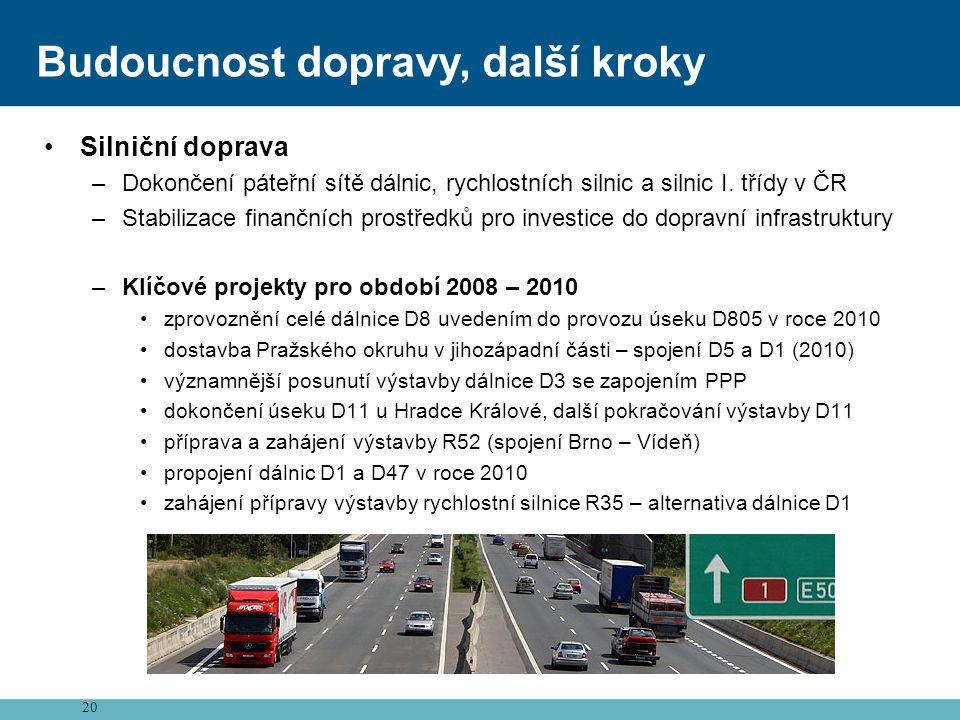 20 Budoucnost dopravy, další kroky •Silniční doprava –Dokončení páteřní sítě dálnic, rychlostních silnic a silnic I. třídy v ČR –Stabilizace finančníc