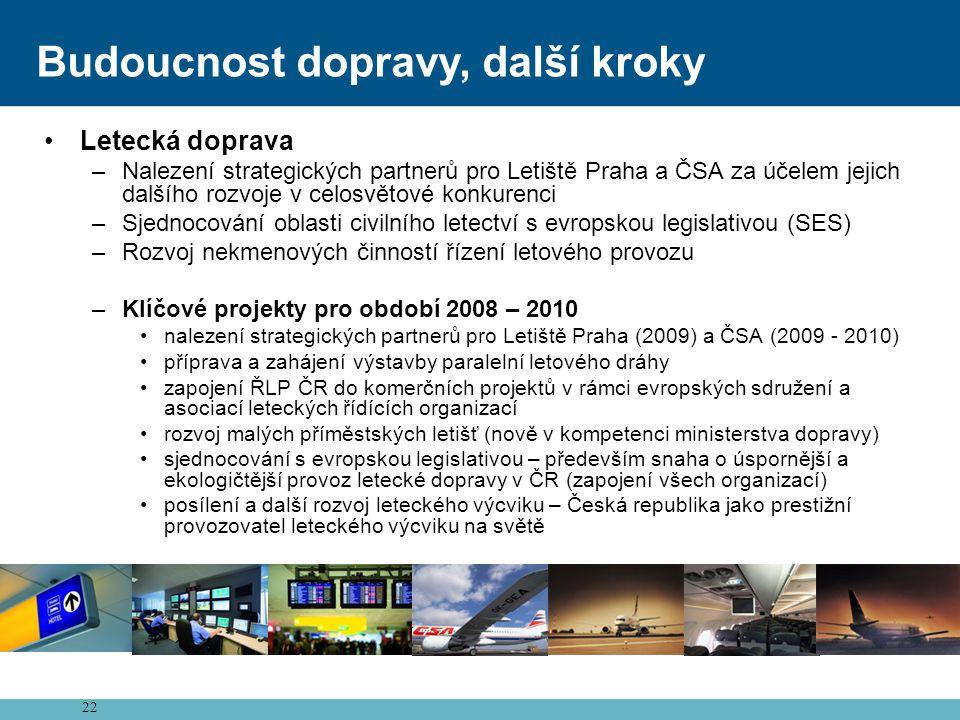 22 Budoucnost dopravy, další kroky •Letecká doprava –Nalezení strategických partnerů pro Letiště Praha a ČSA za účelem jejich dalšího rozvoje v celosvětové konkurenci –Sjednocování oblasti civilního letectví s evropskou legislativou (SES) –Rozvoj nekmenových činností řízení letového provozu –Klíčové projekty pro období 2008 – 2010 •nalezení strategických partnerů pro Letiště Praha (2009) a ČSA (2009 - 2010) •příprava a zahájení výstavby paralelní letového dráhy •zapojení ŘLP ČR do komerčních projektů v rámci evropských sdružení a asociací leteckých řídících organizací •rozvoj malých příměstských letišť (nově v kompetenci ministerstva dopravy) •sjednocování s evropskou legislativou – především snaha o úspornější a ekologičtější provoz letecké dopravy v ČR (zapojení všech organizací) •posílení a další rozvoj leteckého výcviku – Česká republika jako prestižní provozovatel leteckého výcviku na světě
