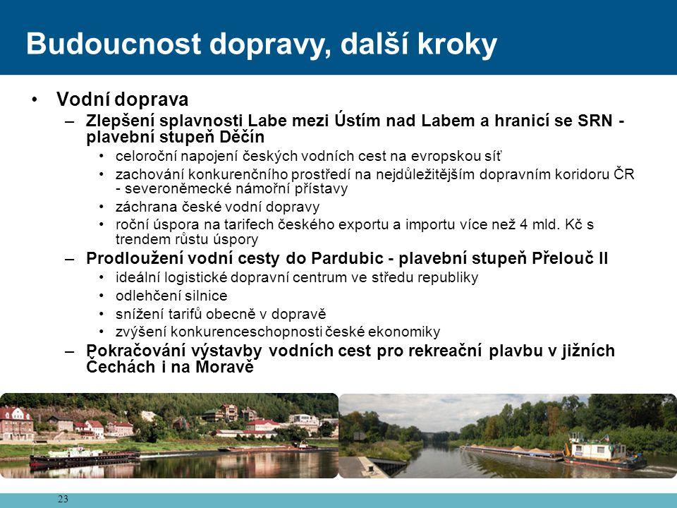 23 Budoucnost dopravy, další kroky •Vodní doprava –Zlepšení splavnosti Labe mezi Ústím nad Labem a hranicí se SRN - plavební stupeň Děčín •celoroční n