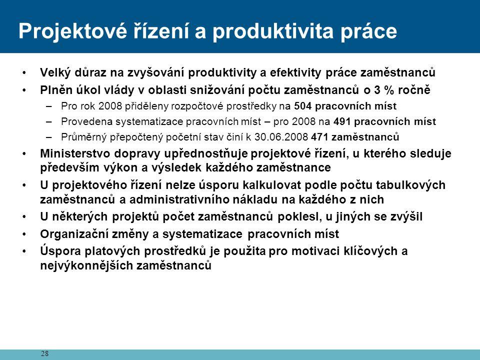 28 Projektové řízení a produktivita práce •Velký důraz na zvyšování produktivity a efektivity práce zaměstnanců •Plněn úkol vlády v oblasti snižování počtu zaměstnanců o 3 % ročně –Pro rok 2008 přiděleny rozpočtové prostředky na 504 pracovních míst –Provedena systematizace pracovních míst – pro 2008 na 491 pracovních míst –Průměrný přepočtený početní stav činí k 30.06.2008 471 zaměstnanců •Ministerstvo dopravy upřednostňuje projektové řízení, u kterého sleduje především výkon a výsledek každého zaměstnance •U projektového řízení nelze úsporu kalkulovat podle počtu tabulkových zaměstnanců a administrativního nákladu na každého z nich •U některých projektů počet zaměstnanců poklesl, u jiných se zvýšil •Organizační změny a systematizace pracovních míst •Úspora platových prostředků je použita pro motivaci klíčových a nejvýkonnějších zaměstnanců