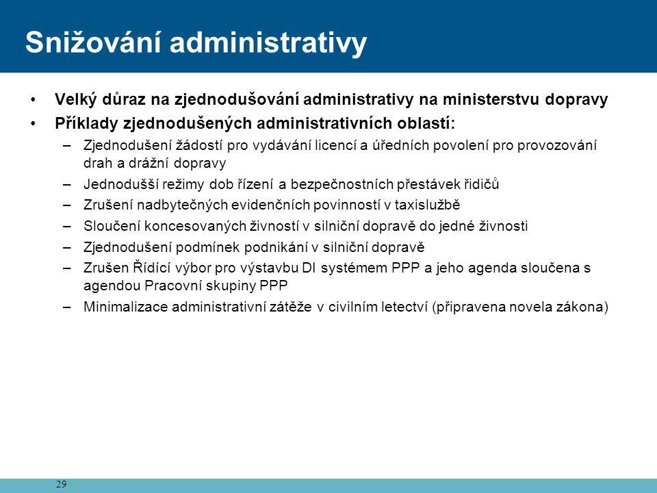 29 Snižování administrativy •Velký důraz na zjednodušování administrativy na ministerstvu dopravy •Příklady zjednodušených administrativních oblastí: