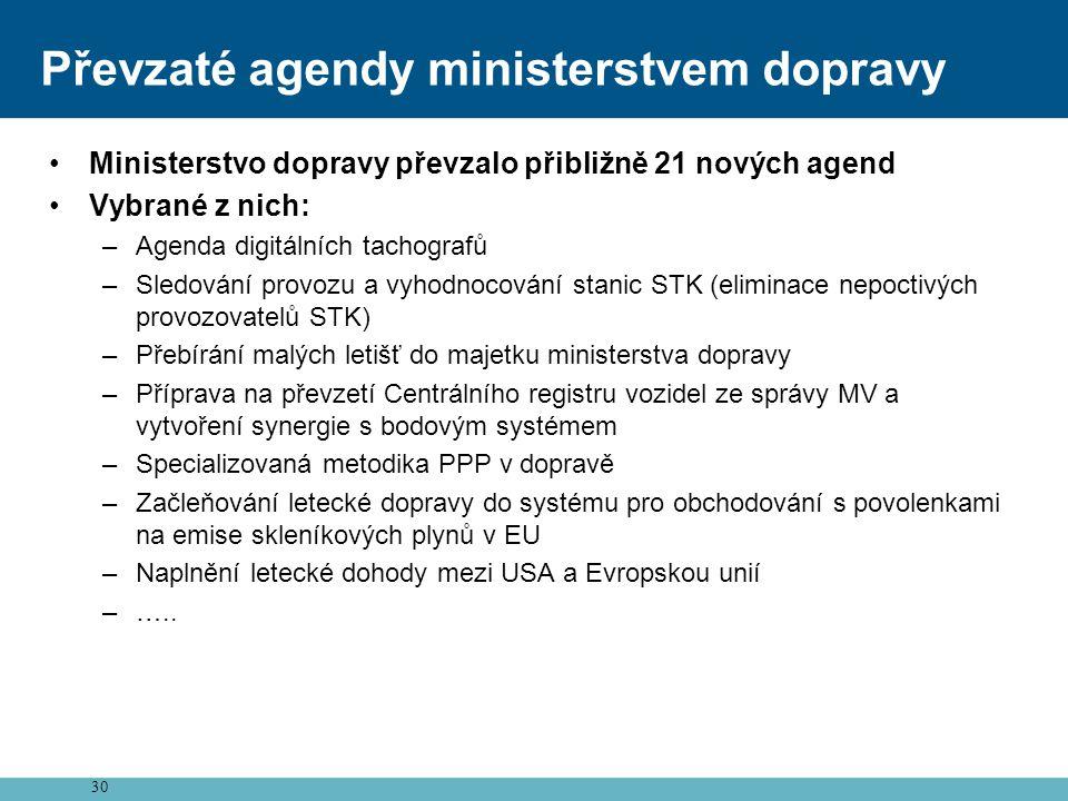 30 Převzaté agendy ministerstvem dopravy •Ministerstvo dopravy převzalo přibližně 21 nových agend •Vybrané z nich: –Agenda digitálních tachografů –Sle
