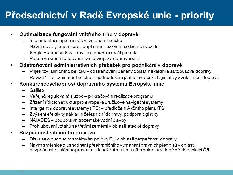 33 Předsednictví v Radě Evropské unie - priority •Optimalizace fungování vnitřního trhu v dopravě –Implementace opatření v tzv. zeleném balíčku –Návrh