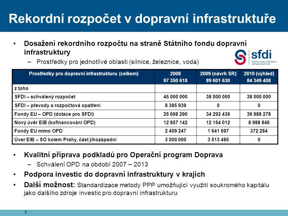 8 Rekordní rozpočet v dopravní infrastruktuře •Dosažení rekordního rozpočtu na straně Státního fondu dopravní infrastruktury –Prostředky pro jednotliv