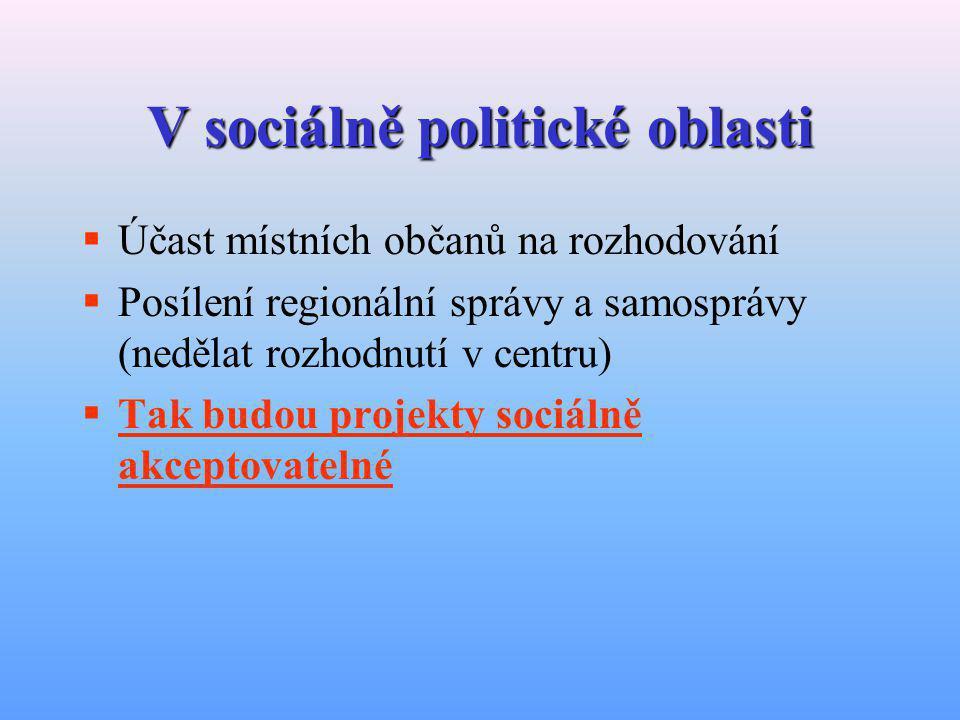 V sociálně kulturní oblasti  Spolupráce firem mezi sebou, se státní správou a se samosprávou (sociální kapitál)  Nutná je i zdravá konkurence  Překonání sociokulturních překážek (důvěra, posílení kulturního kapitálu)  Posílení regionální identity (znalost regionu)  Tak budou projekty sociálně akceptovatelné