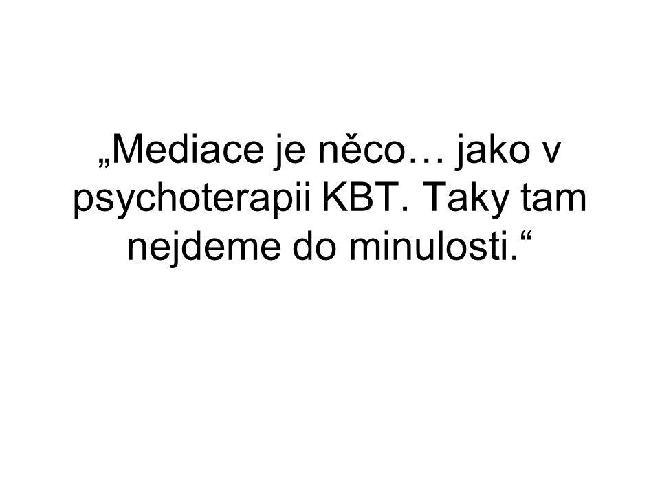 """""""Mediace je něco… jako v psychoterapii KBT. Taky tam nejdeme do minulosti."""""""