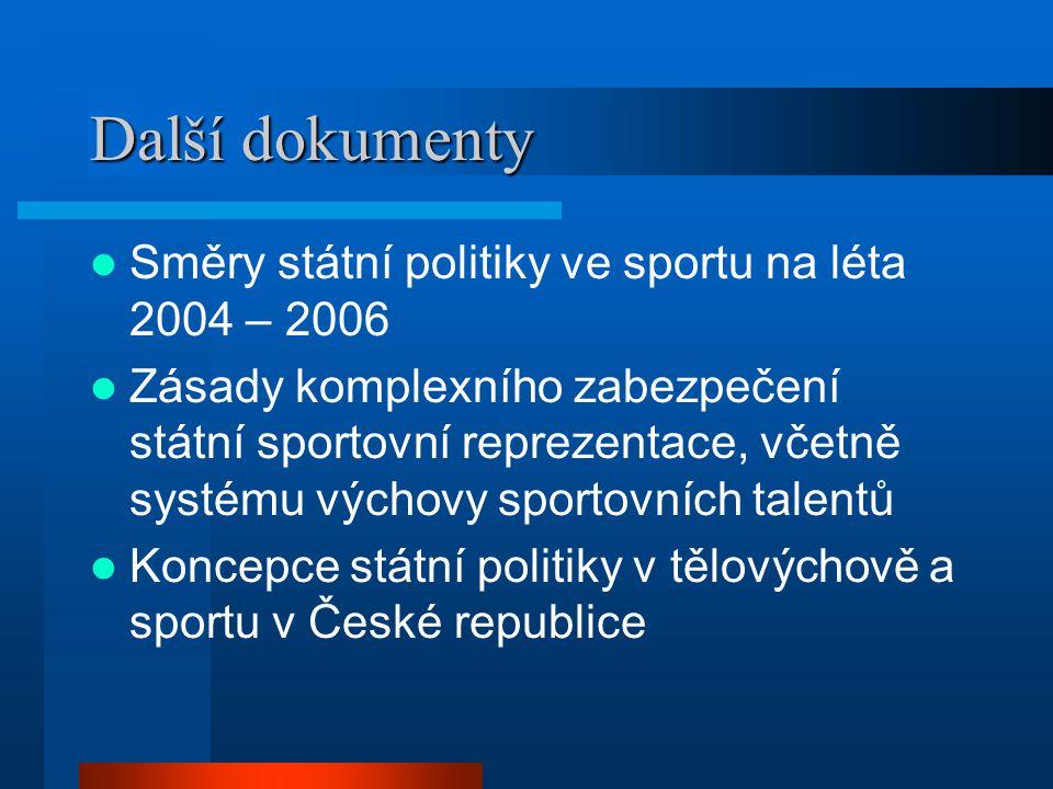 Další dokumenty  Směry státní politiky ve sportu na léta 2004 – 2006  Zásady komplexního zabezpečení státní sportovní reprezentace, včetně systému výchovy sportovních talentů  Koncepce státní politiky v tělovýchově a sportu v České republice