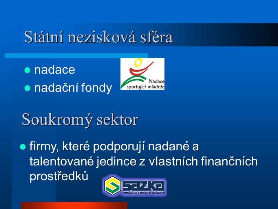 Státní nezisková sféra  nadace  nadační fondy Soukromý sektor  firmy, které podporují nadané a talentované jedince z vlastních finančních prostředků