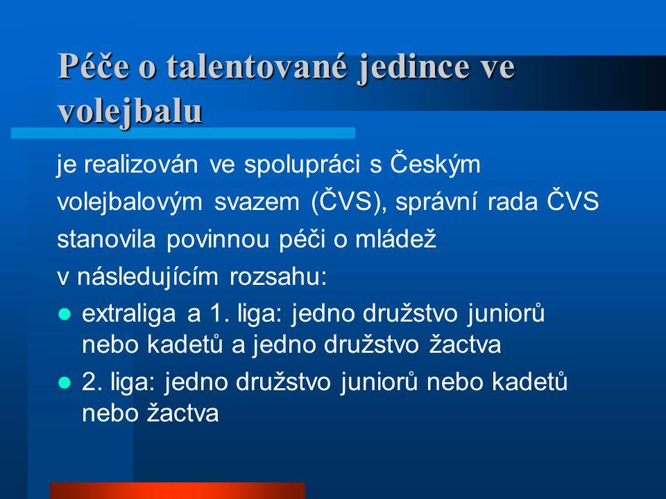 Péče o talentované jedince ve volejbalu je realizován ve spolupráci s Českým volejbalovým svazem (ČVS), správní rada ČVS stanovila povinnou péči o mládež v následujícím rozsahu:  extraliga a 1.