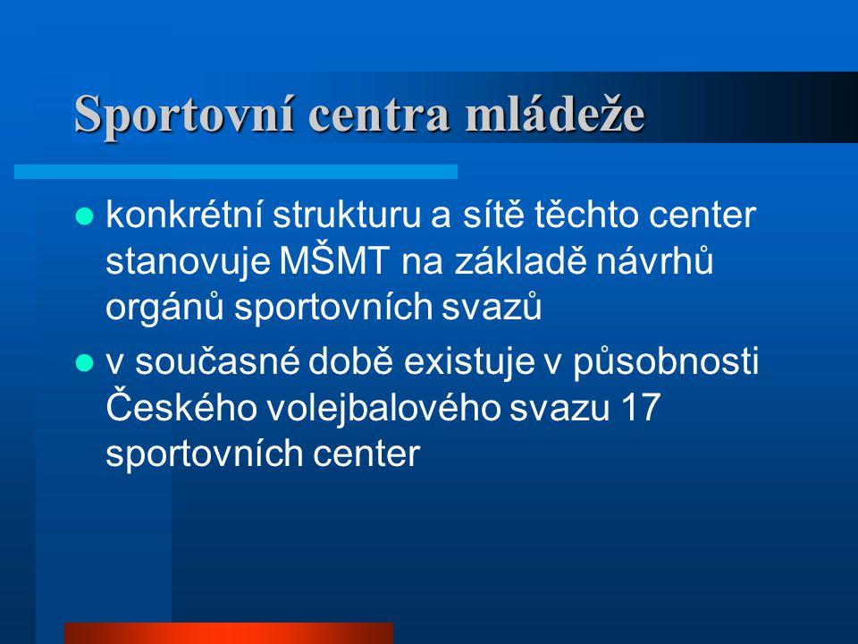 Sportovní centra mládeže  konkrétní strukturu a sítě těchto center stanovuje MŠMT na základě návrhů orgánů sportovních svazů  v současné době existuje v působnosti Českého volejbalového svazu 17 sportovních center