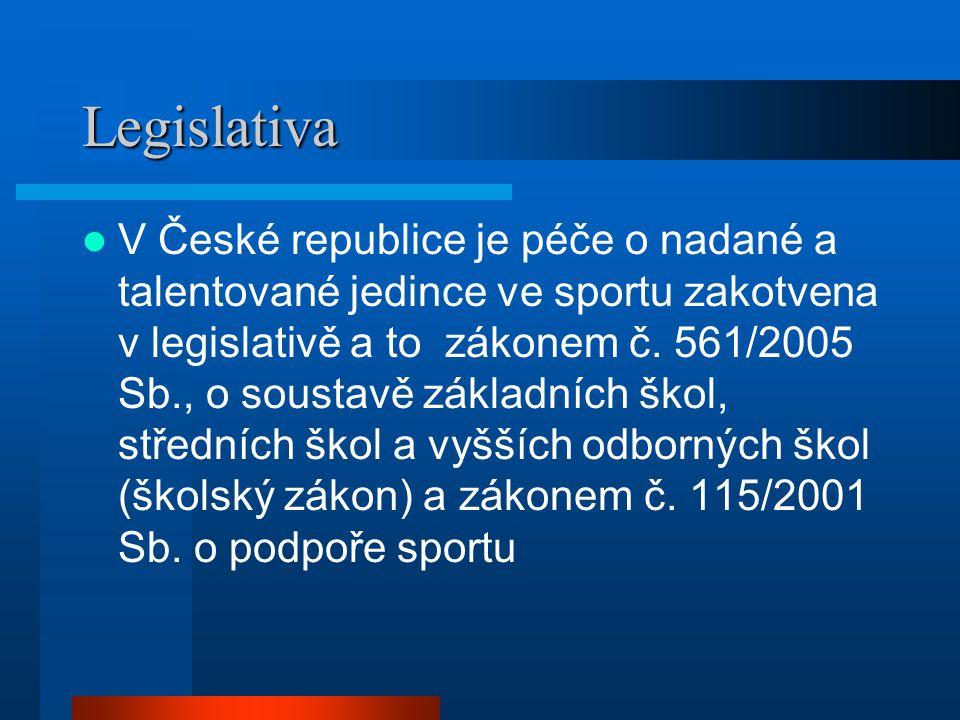 Legislativa  V České republice je péče o nadané a talentované jedince ve sportu zakotvena v legislativě a to zákonem č. 561/2005 Sb., o soustavě zákl