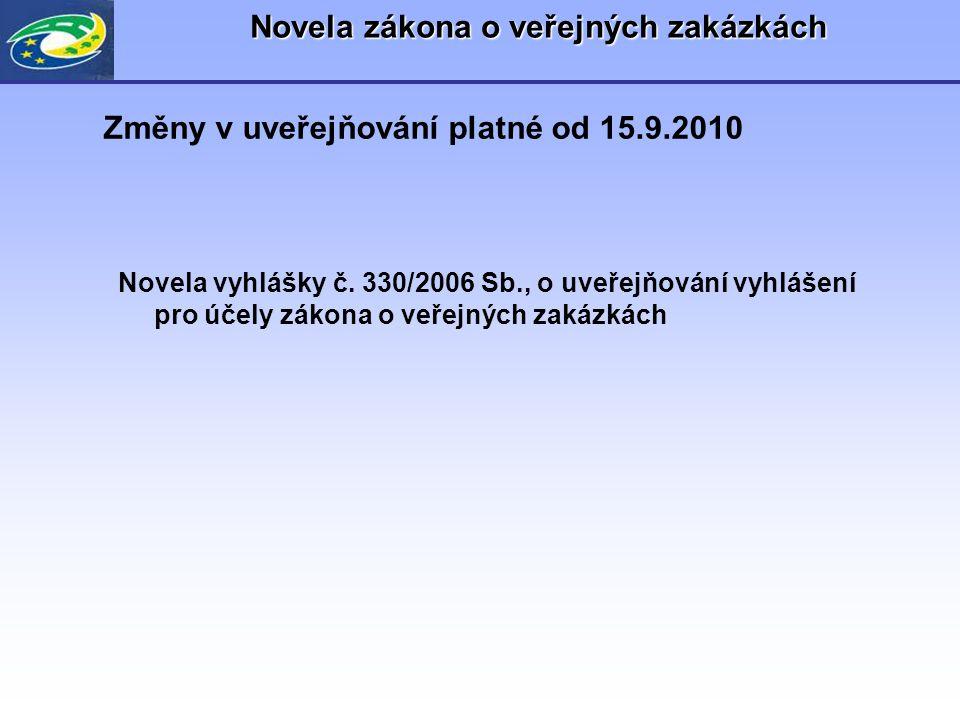 Novela zákona o veřejných zakázkách Novela vyhlášky č. 330/2006 Sb., o uveřejňování vyhlášení pro účely zákona o veřejných zakázkách Změny v uveřejňov