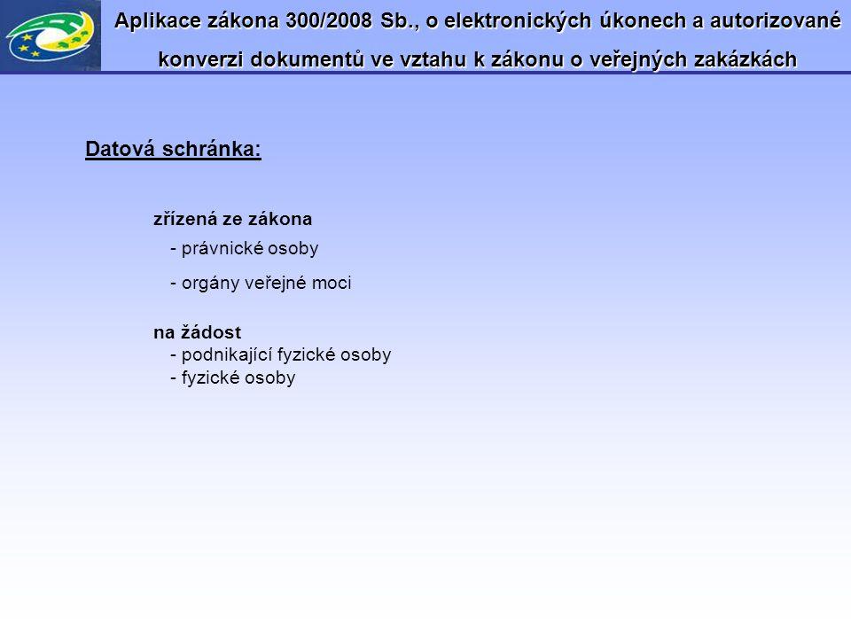 Aplikace zákona 300/2008 Sb., o elektronických úkonech a autorizované konverzi dokumentů ve vztahu k zákonu o veřejných zakázkách Datová schránka: zří