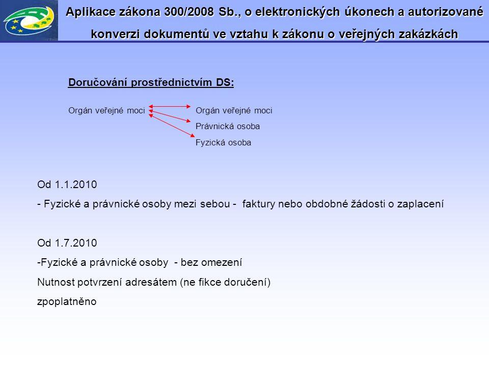 Aplikace zákona 300/2008 Sb., o elektronických úkonech a autorizované konverzi dokumentů ve vztahu k zákonu o veřejných zakázkách Doručování prostředn