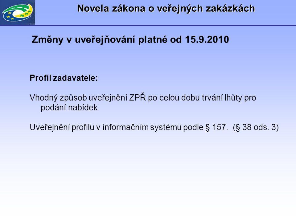 Novela zákona o veřejných zakázkách Profil zadavatele: •Oznámení profilu zadavatele •Zrušení profilu zadavatele Změny v uveřejňování platné od 15.9.2010