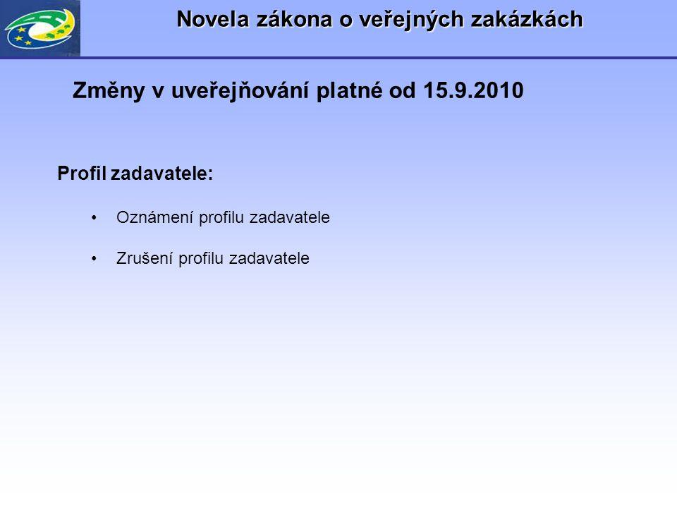 Novela zákona o veřejných zakázkách Profil zadavatele: •Oznámení profilu zadavatele •Zrušení profilu zadavatele Změny v uveřejňování platné od 15.9.20