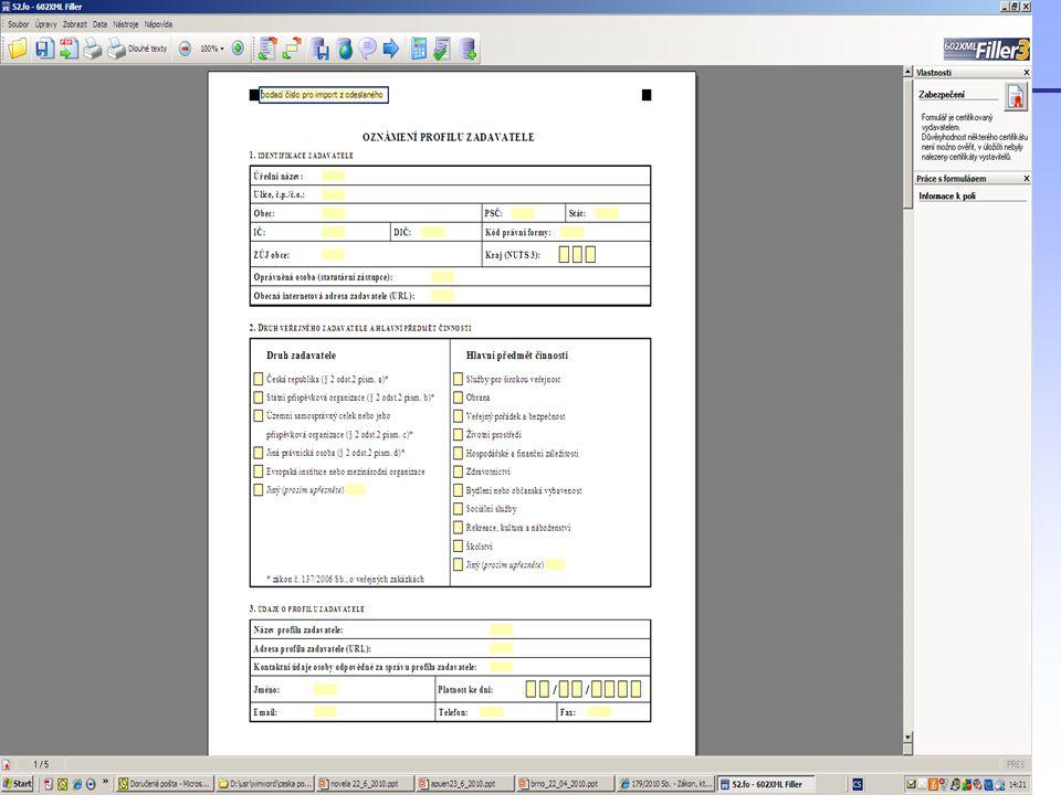 Aplikace zákona 300/2008 Sb., o elektronických úkonech a autorizované konverzi dokumentů ve vztahu k zákonu o veřejných zakázkách Zákon č.