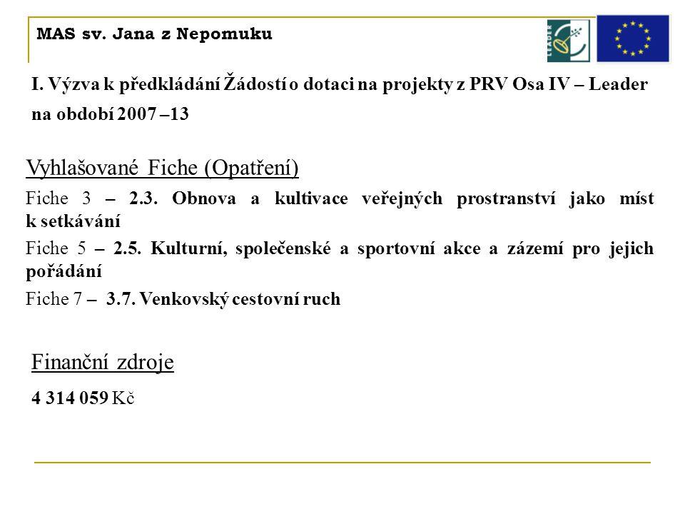 MAS sv. Jana z Nepomuku I. Výzva k předkládání Žádostí o dotaci na projekty z PRV Osa IV – Leader na období 2007 –13 Vyhlašované Fiche (Opatření) Fich