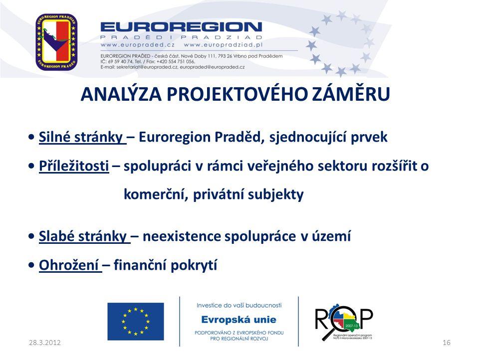 • Silné stránky – Euroregion Praděd, sjednocující prvek • Příležitosti – spolupráci v rámci veřejného sektoru rozšířit o komerční, privátní subjekty •