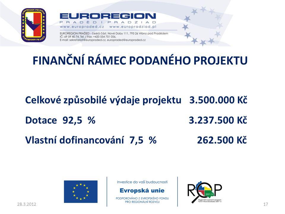 Celkové způsobilé výdaje projektu 3.500.000 Kč Dotace 92,5 % 3.237.500 Kč Vlastní dofinancování 7,5 % 262.500 Kč 28.3.201217 FINANČNÍ RÁMEC PODANÉHO P