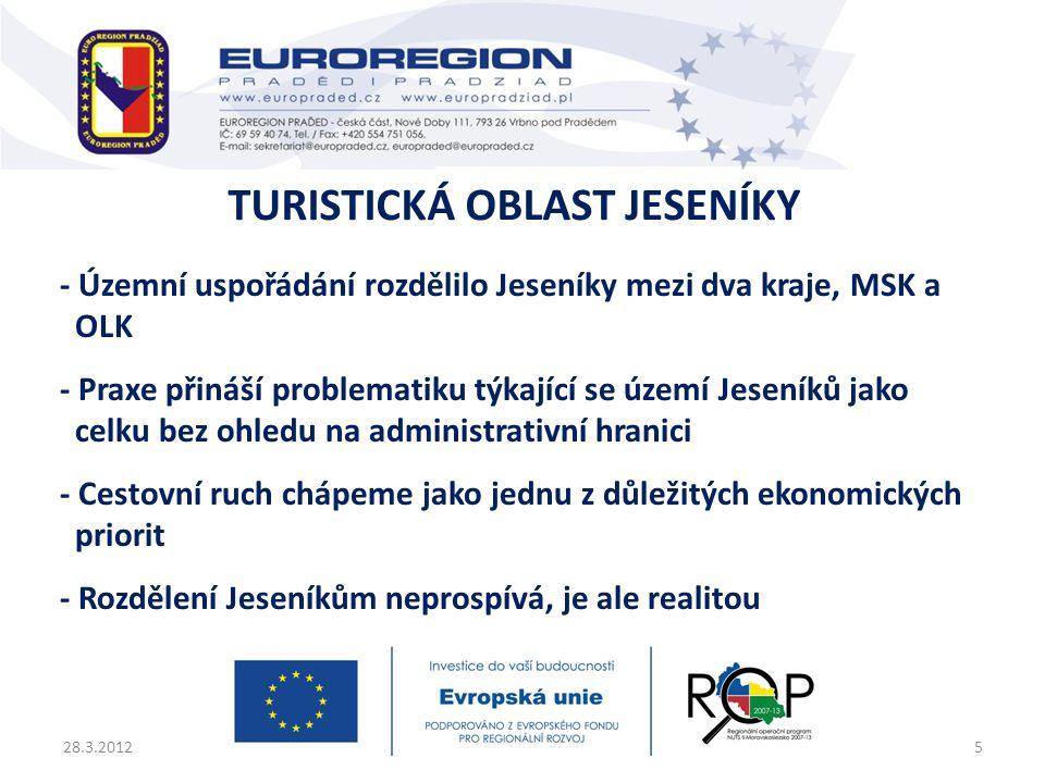 - Územní uspořádání rozdělilo Jeseníky mezi dva kraje, MSK a OLK - Praxe přináší problematiku týkající se území Jeseníků jako celku bez ohledu na admi