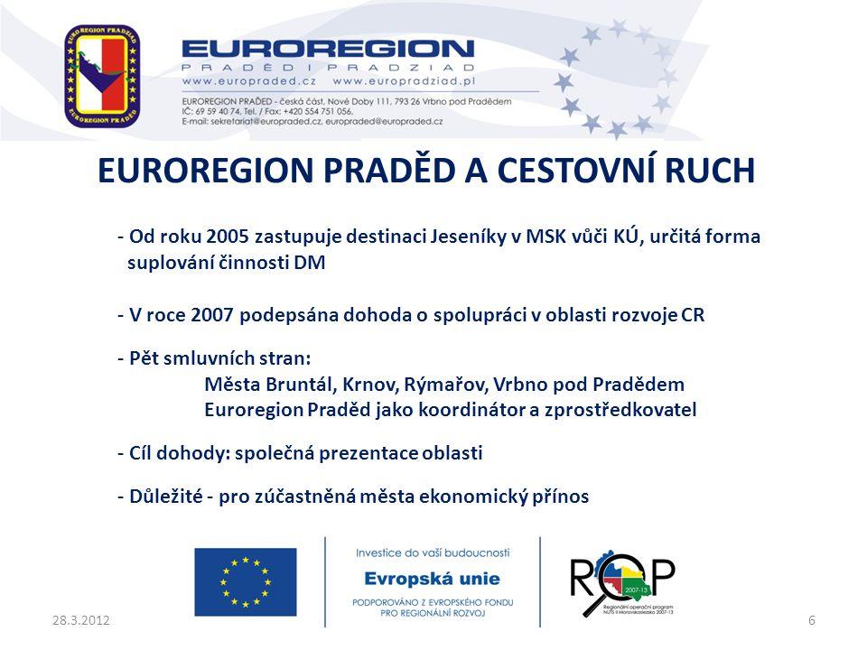- Od roku 2005 zastupuje destinaci Jeseníky v MSK vůči KÚ, určitá forma suplování činnosti DM - V roce 2007 podepsána dohoda o spolupráci v oblasti ro