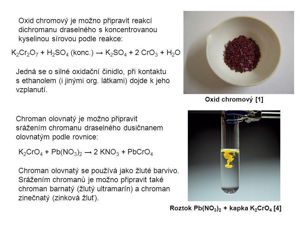 Oxid chromový je možno připravit reakcí dichromanu draselného s koncentrovanou kyselinou sírovou podle reakce: Oxid chromový [1] K 2 Cr 2 O 7 + H 2 SO