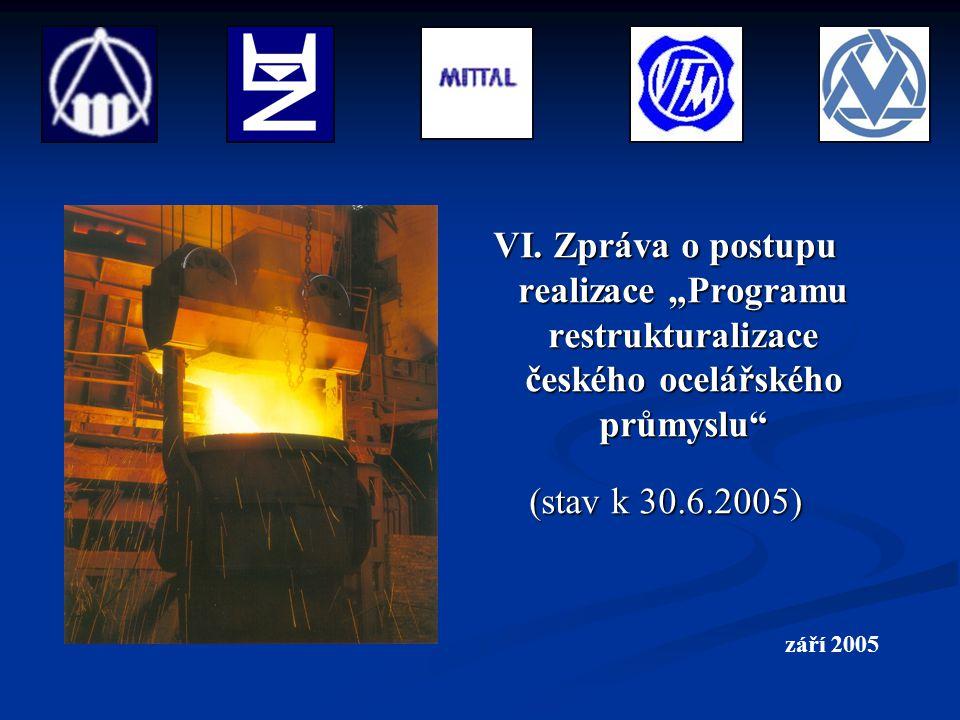 """VI. Zpráva o postupu realizace """"Programu restrukturalizace českého ocelářského průmyslu"""" (stav k 30.6.2005) září 2005"""