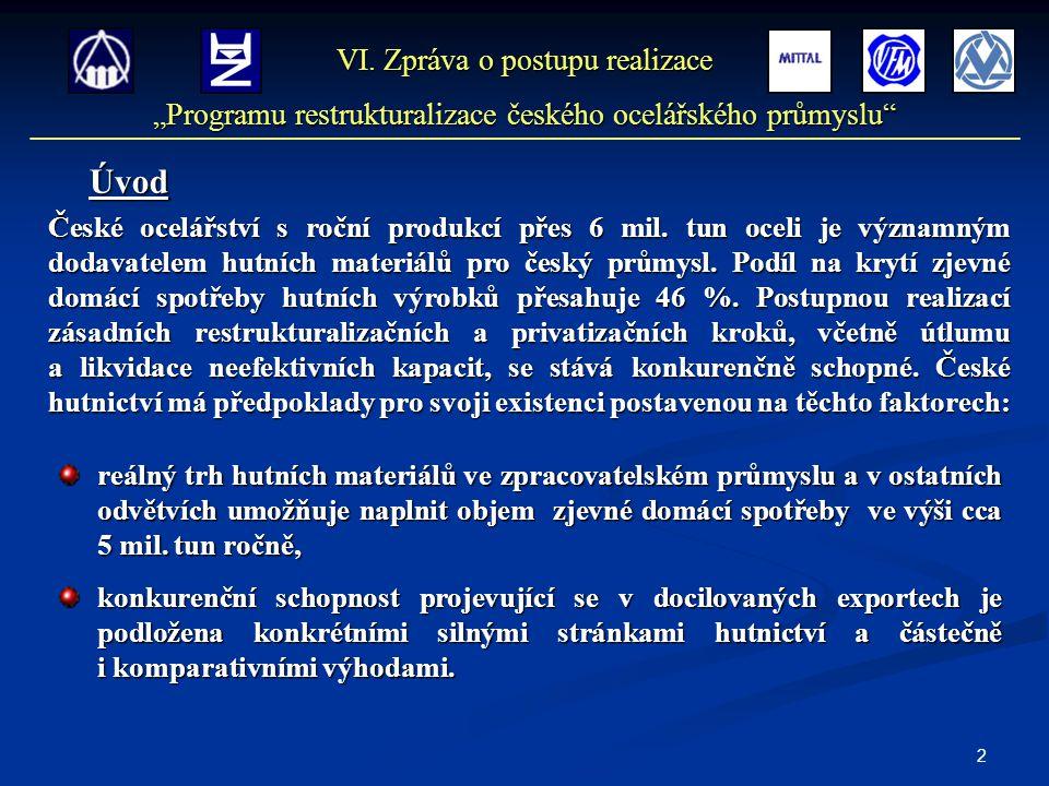 2 České ocelářství s roční produkcí přes 6 mil. tun oceli je významným dodavatelem hutních materiálů pro český průmysl. Podíl na krytí zjevné domácí s