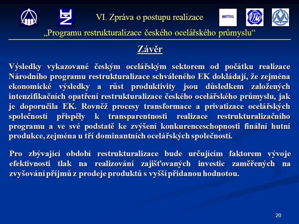 20 Výsledky vykazované českým ocelářským sektorem od počátku realizace Národního programu restrukturalizace schváleného EK dokládají, že zejména ekono
