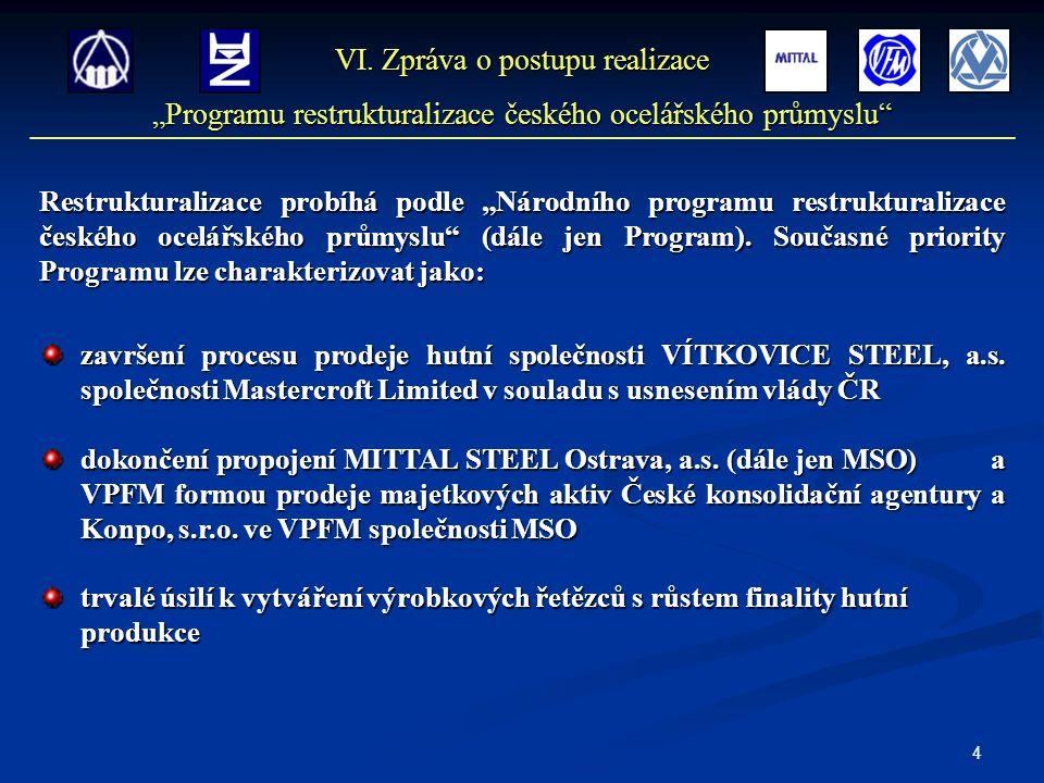 """4 Restrukturalizace probíhá podle """"Národního programu restrukturalizace českého ocelářského průmyslu"""" (dále jen Program). Současné priority Programu l"""