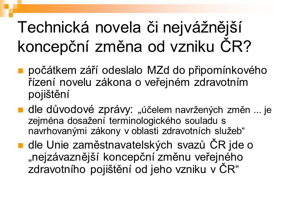 Technická novela či nejvážnější koncepční změna od vzniku ČR.