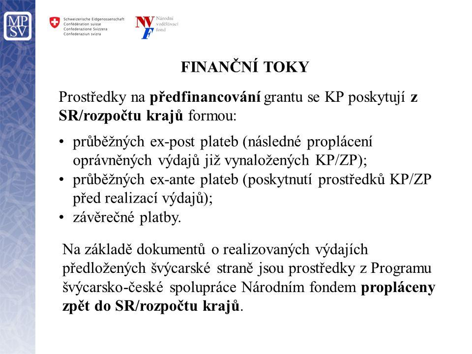 FINANČNÍ TOKY •průběžných ex-post plateb (následné proplácení oprávněných výdajů již vynaložených KP/ZP); •průběžných ex-ante plateb (poskytnutí prost
