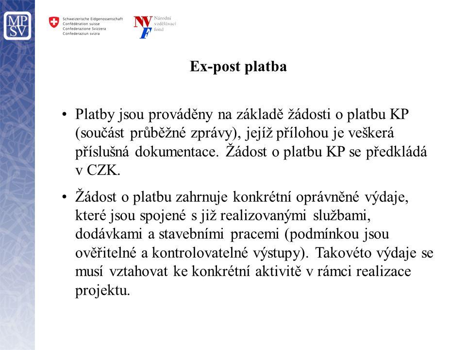 Ex-post platba •Platby jsou prováděny na základě žádosti o platbu KP (součást průběžné zprávy), jejíž přílohou je veškerá příslušná dokumentace. Žádos