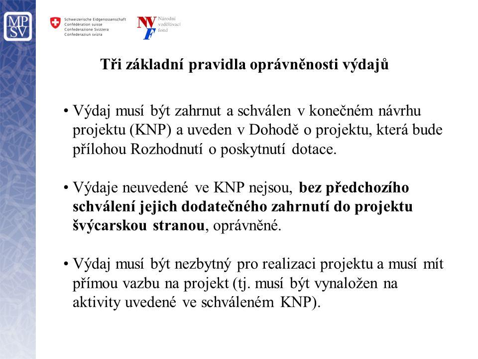 Tři základní pravidla oprávněnosti výdajů •Výdaj musí být zahrnut a schválen v konečném návrhu projektu (KNP) a uveden v Dohodě o projektu, která bude