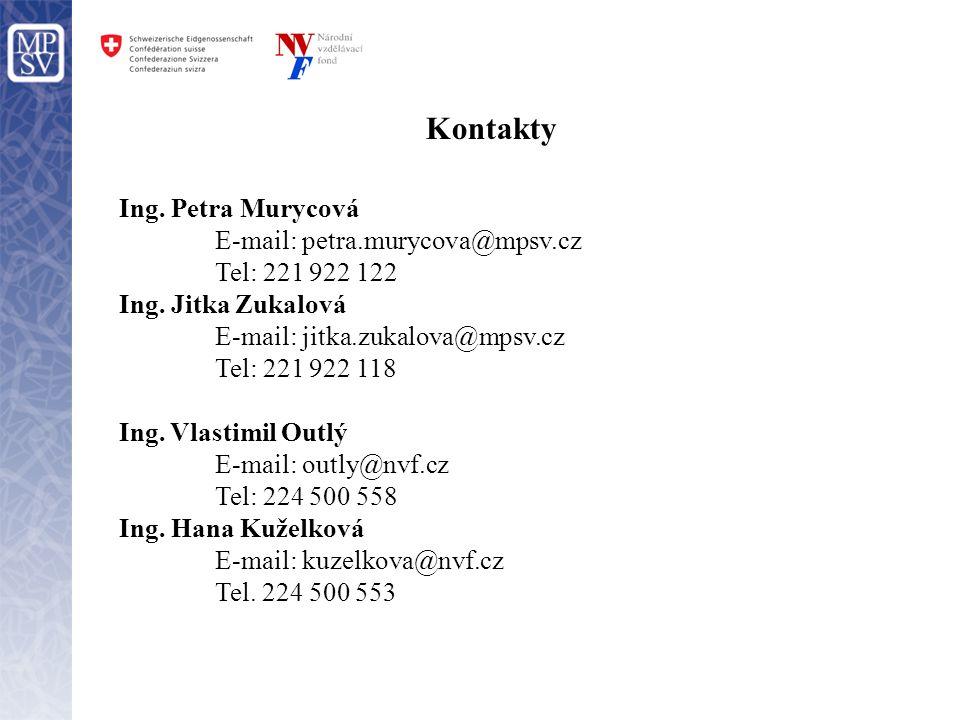 Kontakty Ing. Petra Murycová E-mail: petra.murycova@mpsv.cz Tel: 221 922 122 Ing. Jitka Zukalová E-mail: jitka.zukalova@mpsv.cz Tel: 221 922 118 Ing.